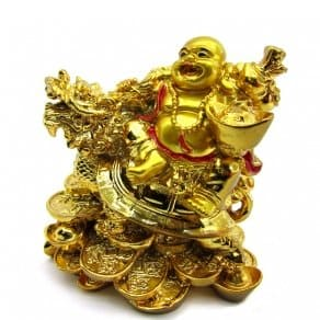 Laughing Buddha Statue – Dragon Coin buddha laughing Buddha for money and wealth success...