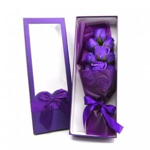 Purple Flowers In Box-Purple Flowers In Box  For Anniversary Gifts, Valentine And Brithday...