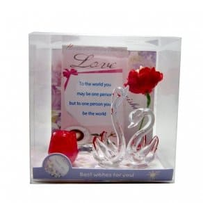 Unique Gift -swan pair, love card and flower For Anniversary Gifts, Valentine And Brithday...
