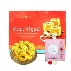 Colorful Bead & Stone Rakhi with Soan Papdi