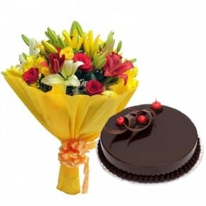 You Deserve the Best-Rich chocolate cakes with mix flowers bouquet